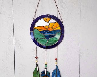 Ocean Sunrise Mosaic Suncatcher, Window Dreamcatcher, Bohemian Art Glass, Native American Deco, Ocean Artwork, Sun Wall Hanging
