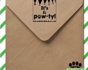 Dog party stamp - Are you having a PAWty? Perfect to announce a new dog or puppy party - wood mounted stamp with handle or self inking