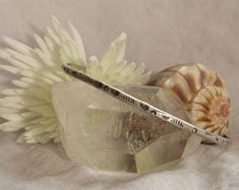 Stamped Silver Bangle Bracelet