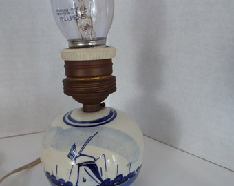 antique Delft windmill table lamp hand painted small boudoir lamp rare Dutch lamp Holland blue white lamp