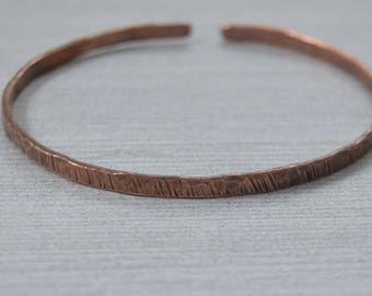 Antique Copper Wire Bracelet - Hammered Copper Bracelet - Cuff Copper Wire Bracelet - Textured Wire Bangle Bracelet  CB008