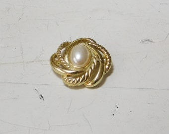 Victorian Style Brooch Round Gold Tone with Swirls Oval Faux Pearl Cabochon Vintage Costume Jewelry SALE