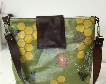 Spring Bees Hand Painted Tote/Shoulder Bag