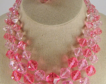 West German Two Tone Pink Acrylic Bead Necklace & Clip Earring Set