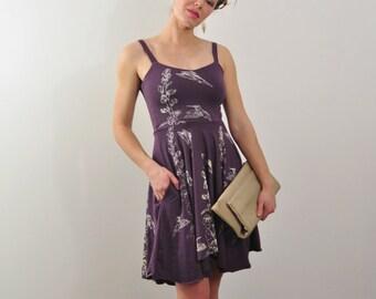 Sweetheart Neck, Summer Dress, Dress with Pockets, Dusty Lavender, Hummingbird Print, Bird Print, Floral Print, Bamboo Jersey Dress,