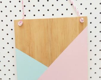 Mint/ Pink Geo wooden banner (small)