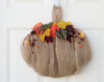 ON SALE - Pumpkin Wreath - Mesh Wreath - Wreath - Door Decor - Fall Wreath - Thanksgiving Wreath - Door Wreath - Front Door Wreath - Wreaths