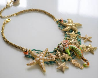 Jewelry sale, Seahorse necklace, Beachy necklace, Starfish necklace, Green coral reef necklace, Mermaid necklace, Under the sea necklace