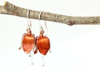 Orange Tulip Earrings, Tulip Jewelry, Silver Earrings, Flower Earrings, Copper Tulip, Fold Formed Earrings, Copper Earrings, Tulip Flower