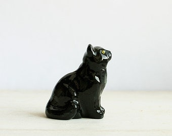 Black Cat Totem, animal totem, tiny mystical cat figurine, home decor, pocket zoo, gift idea for cat lovers