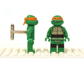 Michelangelo cufflinks. Groomsman cuff links made with LEGO(R) bricks. Teenage Mutant Ninja Turtles - wedding gift best man Cufflink