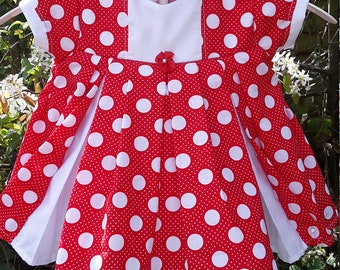 White Spot on Red Fabric Baby Dress