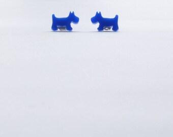 Royal blue scottie dog earrings