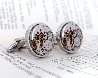 Steampunk Cufflinks, Vintage Watch Movement Stainless Steel Cuff Links. Wedding Gift. Anniversary Present. Unique cufflinks.