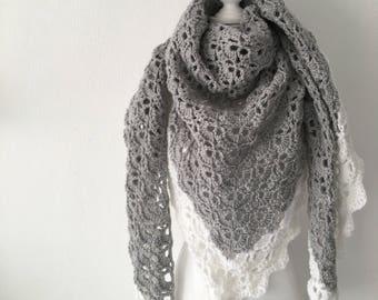 Handmade Crochet shawl light grey and White