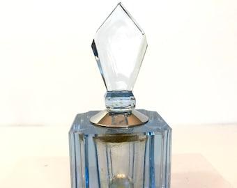 Vintage 1930s Czech Glass Perfume Bottle Antique Art Deco Cut Glass Blue Czechoslovakian Crystal Perfume Bottle Signed CZECHO Dresser Bottle