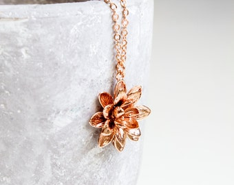 Rose Golden water lily necklace