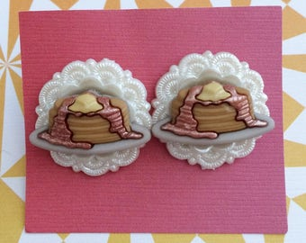 Breakfast Pancake Earrings - Pancakes Syrup Food Foodie Yum Yummy Cute Gifts for Her Quirky Unconventional Gaudy Kitschy Kitsch