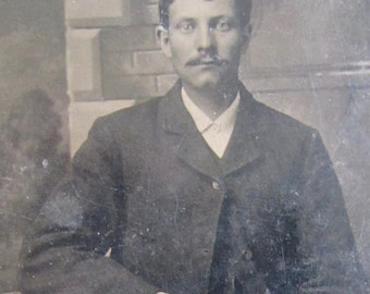 The Barrister - 1880's Young Mustached Man Tintype Photograph - Free Shipping