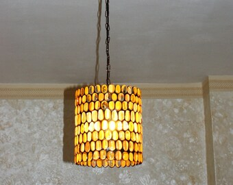 Amber Stained Glass Hanging Lamp. Stained glass hanging lampshade. Tiffany lamp