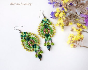 Macrame earrings, beaded, beadwoven, beadwork, micro-macrame jewelry, statement, shades of green, leaf, floral, micromacrame