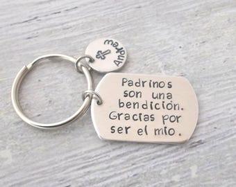 Personalized Padrinos,Madrinas Keychain,Son Una Bendicion Gracias Por Ser El Mio