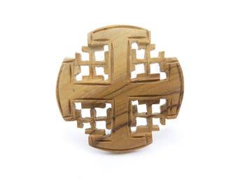 Vintage Maltese Cross Brooch, Carved Wood