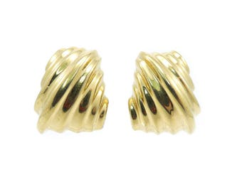 Vintage Vendome Earrings, Gold Tone, Clip Ons, Signed H-A Vendome