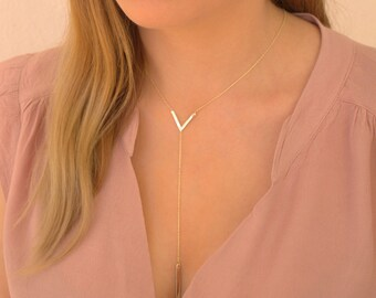 V Necklace -Triangle Necklace - Bar Necklace-Perfect Layering Necklace - Minimal, Silver,Gold,Rose Geometric Necklace