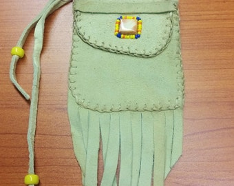 Cream Deerskin Suede Pouch with Spiny Oyster Shell and Seed Bead Ornament