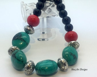 Puff Green Magnesite and Agate Necklace, Statement necklace,  Red, Black, Tibetan Silver,  Chunky, Fashion Necklace, Short, Handmade