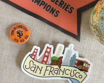 San Francisco Skyline Vinyl Sticker / SF California Sticker / Cool Laptop Sticker / Illustrated SF City Bumper Sticker / Waterproof Sticker
