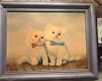 "Pretty White Kittens Original Signed Painting by A Compton 20"" x 15"""