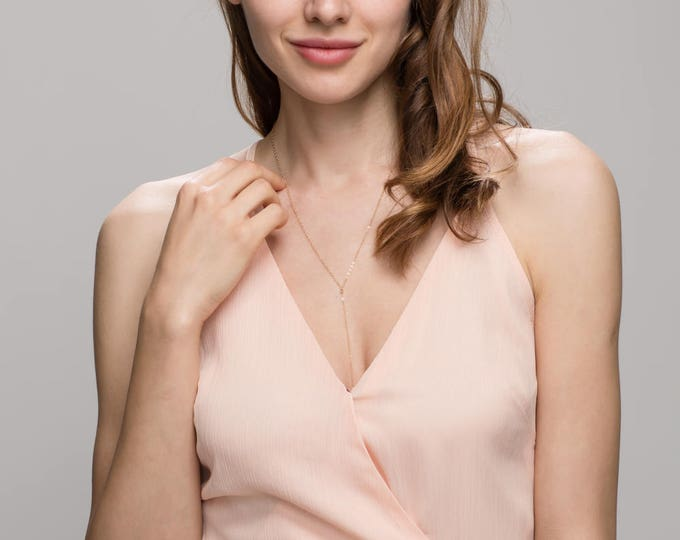 Simple Chain Necklace - Y Lariat necklace in 14K Gold filled or Sterling Silver  EL001