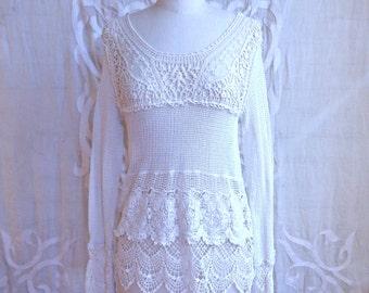 White Crochet Lace Blouse