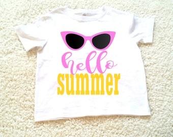 Hello summer  graphic tee, children's Tshirt. Sizes 2T, 3t, 4t, 5/6T funny graphic kids shirt