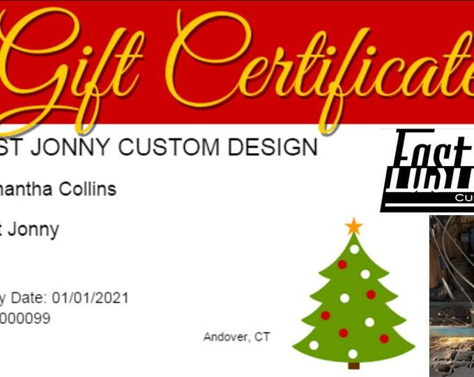 Fast Jonny Gift Certificate