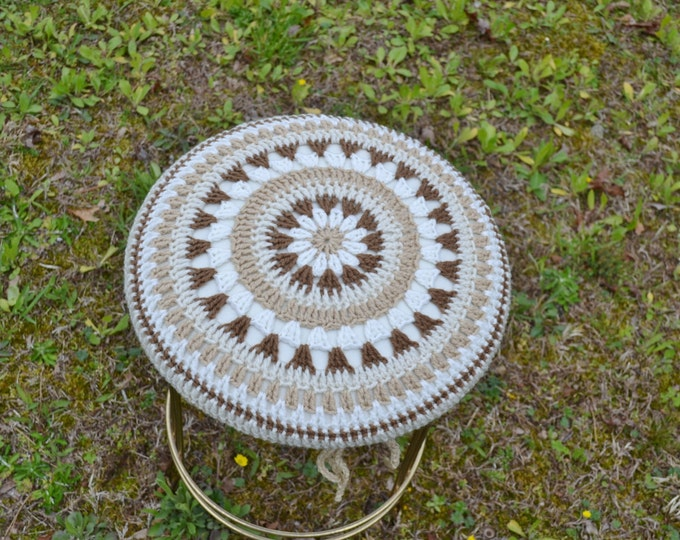 Crochet Mandala Stool Cover on Vintage Brass Stool Vanity Beige Brown Neutral Handmade Upcycle Recycle PanchosPorch