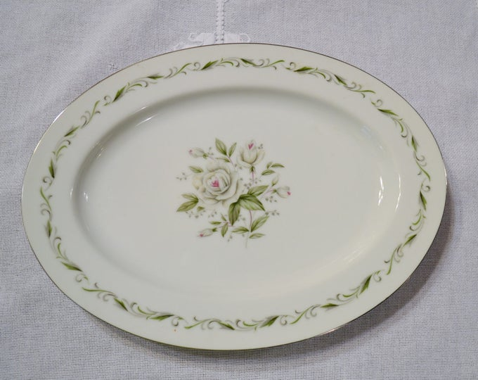Vintage Diamond China Romance Oval Platter White Rose Gray Green Scroll Mismatched China Wedding Japan PanchosPorch