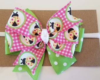 Ladybugs Girls Headband in Hot Pink, Apple Green, Yellow and White/Girl's hairband/baby headband