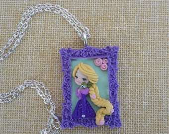 Disney Rapunzel tangled polymer clay  necklace