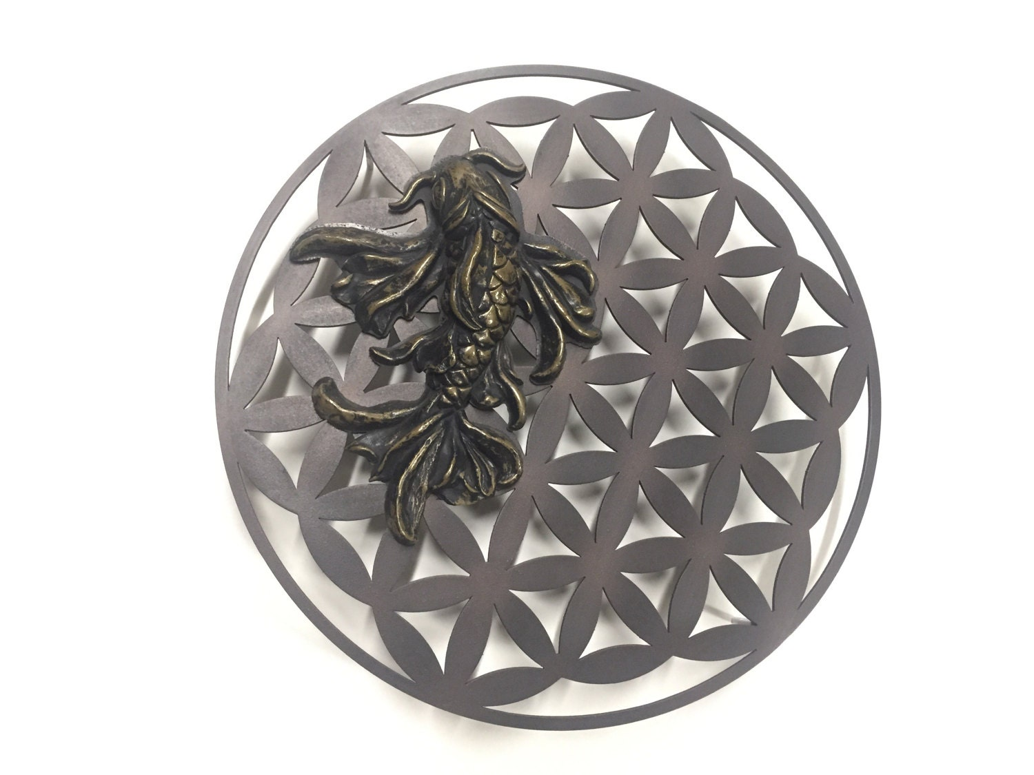 Flower Of Life Sacred Geometry And Koi Fish Metal Wall Art