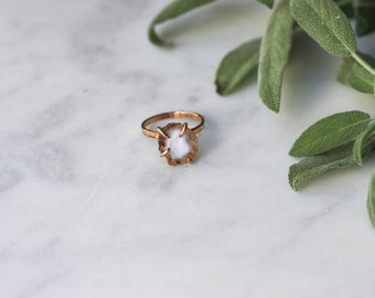 Tiny Geode Ring in Rose Gold