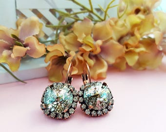 Sparkly Crystal Earrings, Swarovski Crystal Antiqued Copper Leverbacks, Patina Rhinestone Big Statement Earrings, Chunky Prom Jewelry, E3975