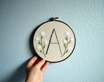Initial Embroidery Hoop - Nursery Wall Art, Embroidered Hoop Art, Custom Monogram, Minimalist Home Decor, Rustic Sign, Natural Simple Colors
