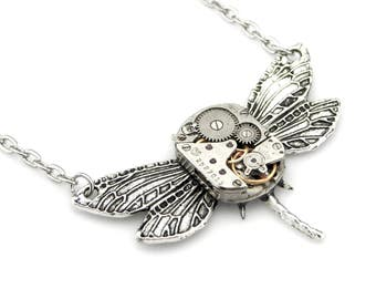Silver Dragonfly Necklace - clockwork dragonfly Steampunk pendant - edwardian steampunk