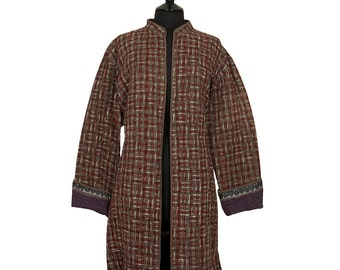 KANTHA JACKET - XX Large - Long style - Size 18/20 - Burgundy and brown. Reverse brown.