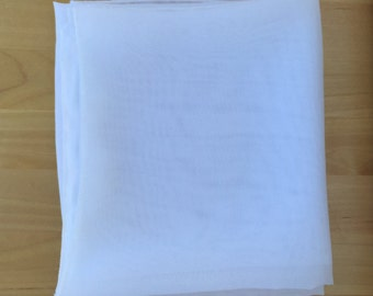 """23"""" White Square Scarf Chiffon Church Scarf Neck tie Head covering Ready to ship"""