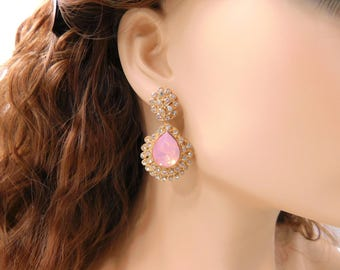 Pink Crystal Earrings Large Rhinestone Chandelier Earrings Pink Opal Gold Fancy Drop Earrings