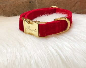 "Adjustable dog collar ""Red velvet"""